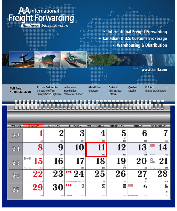 One Wire Wall Calendar - A&A International Freight Forwarding